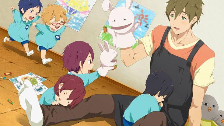 Haru is too adorable curled up to Makoto like this ...  Free! - Iwatobi Swim Club, haruka nanase, haru nanase, haru, nanase, haruka,  rin matsuoka, rin, matsuoka, makoto tachibana, makoto, tachibana, nagisa hazuki, nagisa, hazuki, rei ryugazaki, rei, ryugazaki, gou matsuoka, gou, free!, iwatobi, chibi