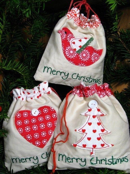 GISELA GRAHAM Christmas drawstring bags SET OF 3 scandi nordic style giftbags