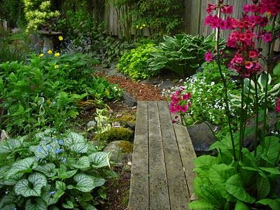 Shaded pathway: Gardens Adventure, Rustic Gardens, Bedrooms Window, Gardens Paths, Garden Paths, Wooden Bridges, Wood Slats, Gardens Design, Gardens Bridges