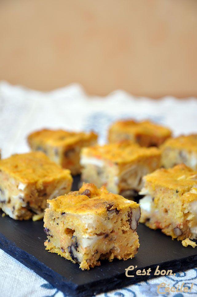 Brownie à la carotte, chèvre et noix