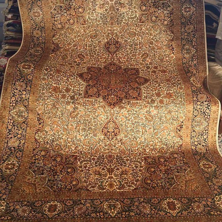Gorgeous handmade Silk rug in Perisan design only on www.rugsandbeyond.com #interiordesign #homedecor #mondaymotivation #blackmonday