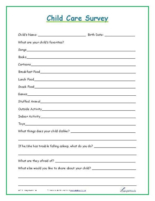 Best  Daycare Forms Ideas On   Childcare Home