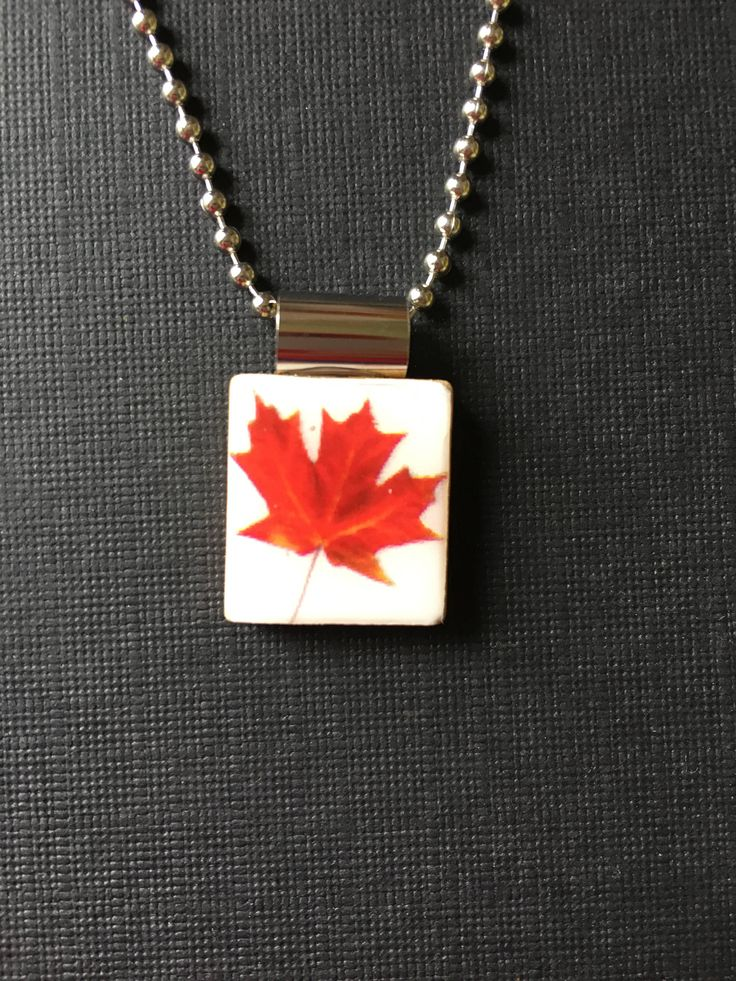 Red Maple Leaf Scrabble Tile Pendant, Handmade and recycled scrabble tile jewelry, Fall leaf pendant, maple leaf necklace, nature jewelry by InSmallPackages on Etsy