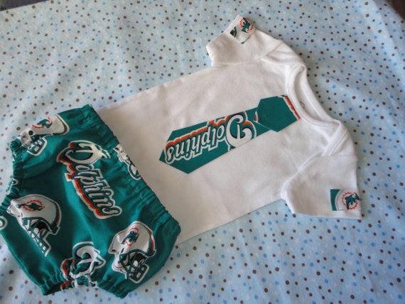 NFL Miami Dolphins Tailgating Outfit Baby by doodlesbabylicious
