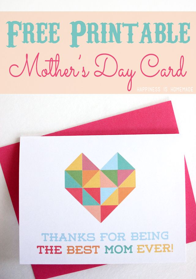 I absolutely LOVE this Free Printable Mother's Day Card with Geometric Heart from Happiness is Homemade! SO cute!