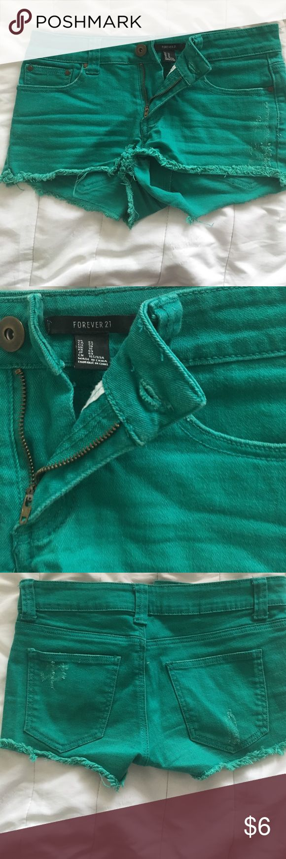 Forever 21 teal jean shorts Teal jean shorts from Forever 21 size 27. Worn a few times but no damage! Super cute for spring and summer! Forever 21 Shorts Jean Shorts
