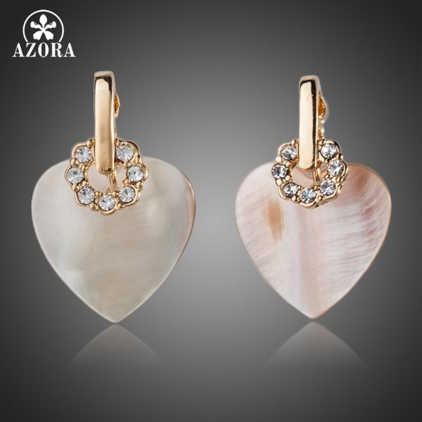 Gold Plated Stellux Austrian Crystal Heart Drop Earrings TE0056