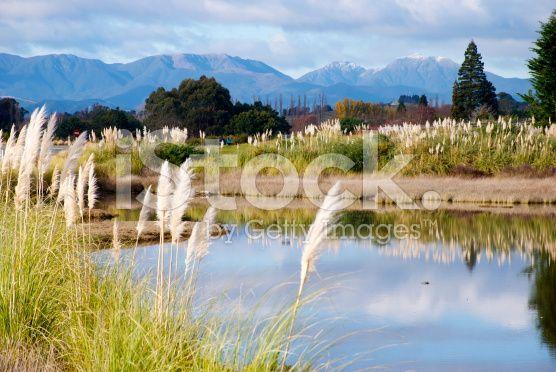 Motueka Causeway Looking to Richmond Ranges, Tasman Region, NZ royalty-free stock photo