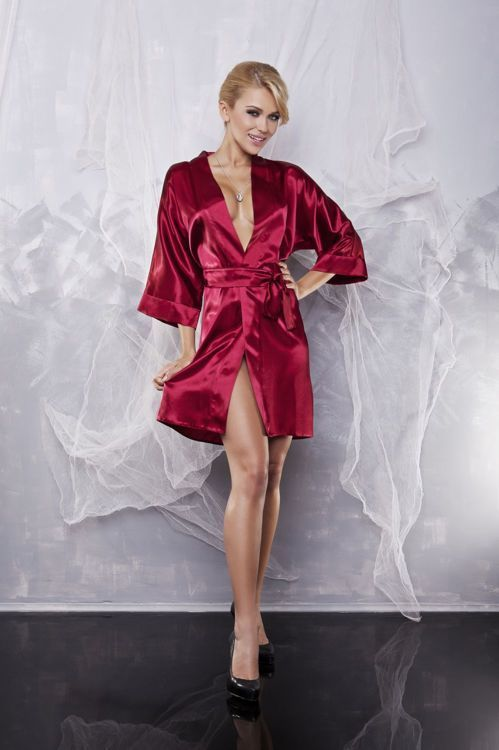 Podomka z satyny Dkaren / Satin robe Dkaren / 60.00 PLN / #dkaren #nighclothes #red #nightlingerie #robe #sexyrobe