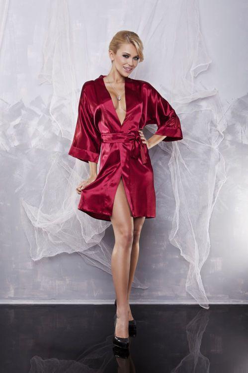 Podomka z satyny Dkaren / Satin robe Dkaren / 60.00 PLN / #dkaren #nighclothes #red #nightlingerie #robe #sexyrobe