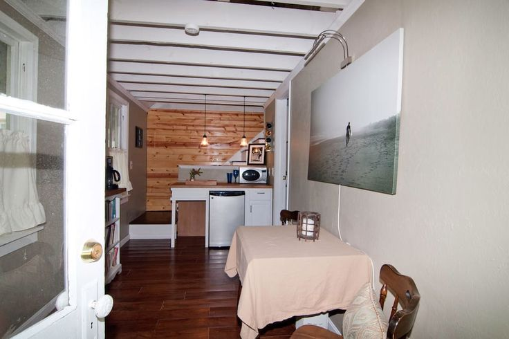 Small kitchenette has a place to sit, coffee maker, refrigerator, microwave...feel free to ask for anything else that would be helpful during your stay!