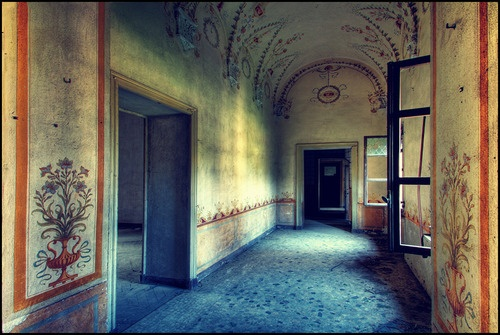 Interior of abandoned mansion -