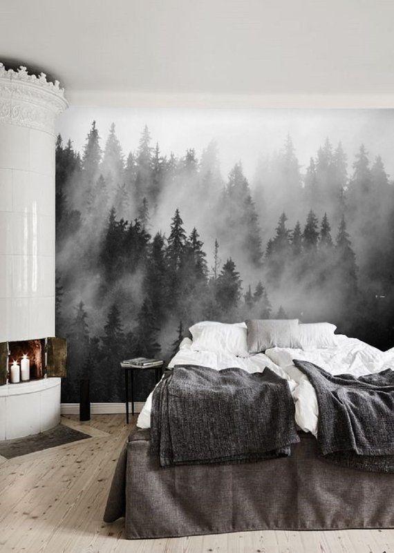 Black And White Forest Wallpaper Mural Peel And Stick Remove Wallpaper Misty Forest Wall Mural R Wohnung Innenarchitektur Tapeten Entfernen Wohn Schlafzimmer