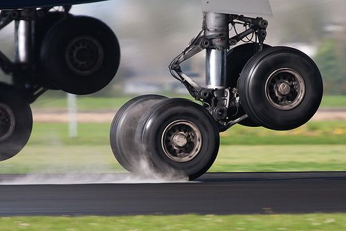 Airbus A330 Landing Gear during Takeoff from Wet Runway