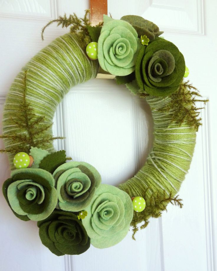 14 Inch Moss - Felt Yarn Wreath - 14 inch Door Decoration in Green with Painted Wood Mushrooms and Ferns.