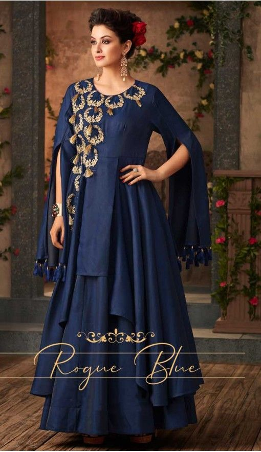 ba5ffc5714f Royal Blue Color Satin Silk Party Wear Readymade Gown | 57446656 #fashion # gowns #women #shopping #salwarkameez #heenastyle