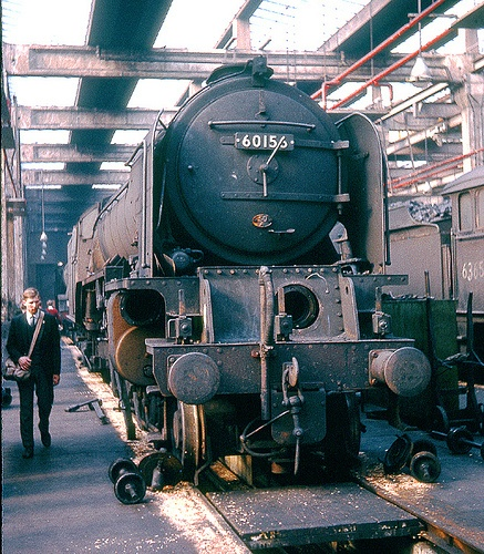 60156 Great Central: Peppercorn A1 class Pacific 60156 undergoing valve repairs inside York (50A) shed on the 4th October, 1964. Photo by Ron Fisher