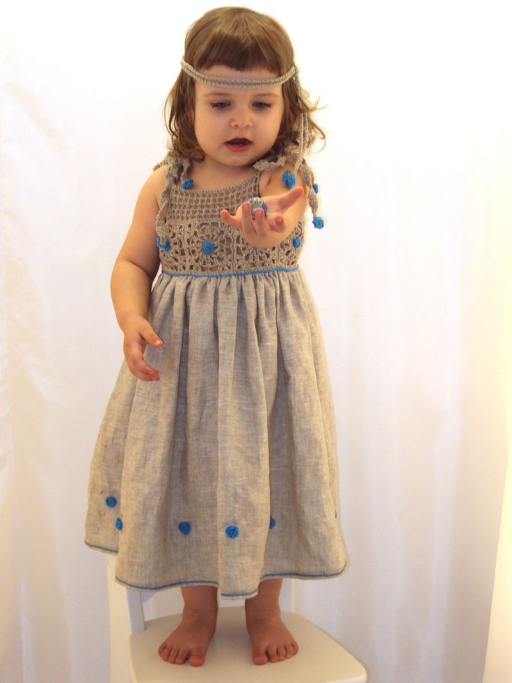 free shipping organic (flax) linen dress for the baby (girl)