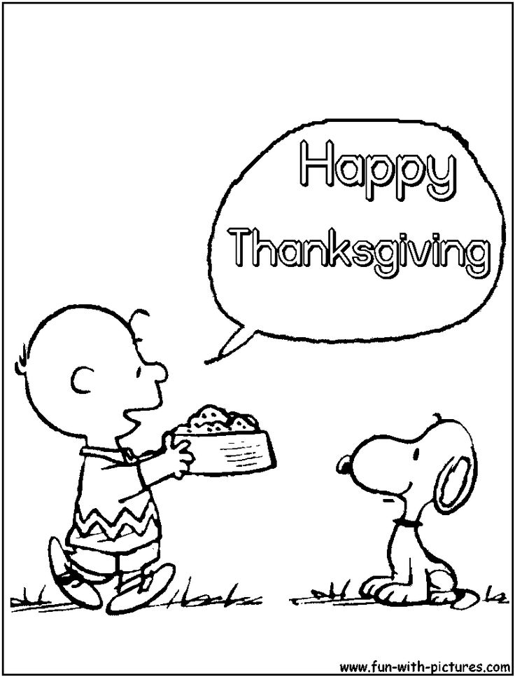 snoopy color page thanksgiving