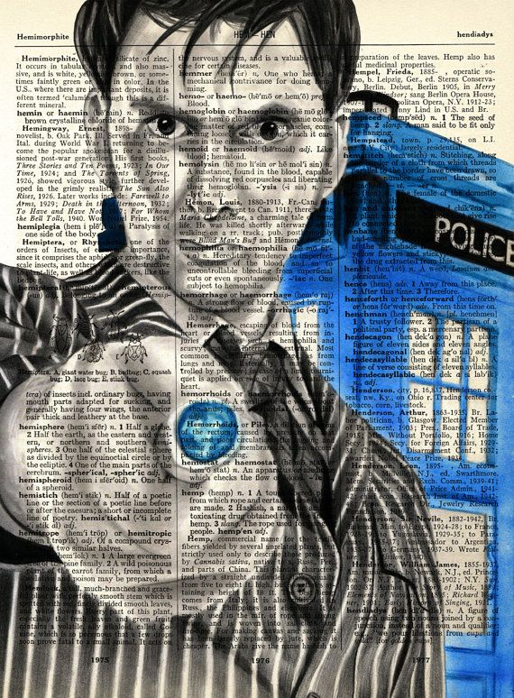 Tenth Doctor and the Tardis Drawing Doctor Who by ThetisCreations, $8.00