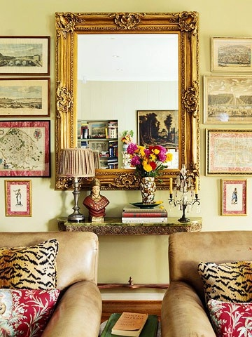 Mirror Flanked By Engravings Find This Pin And More On Sitting Room No Focal Point