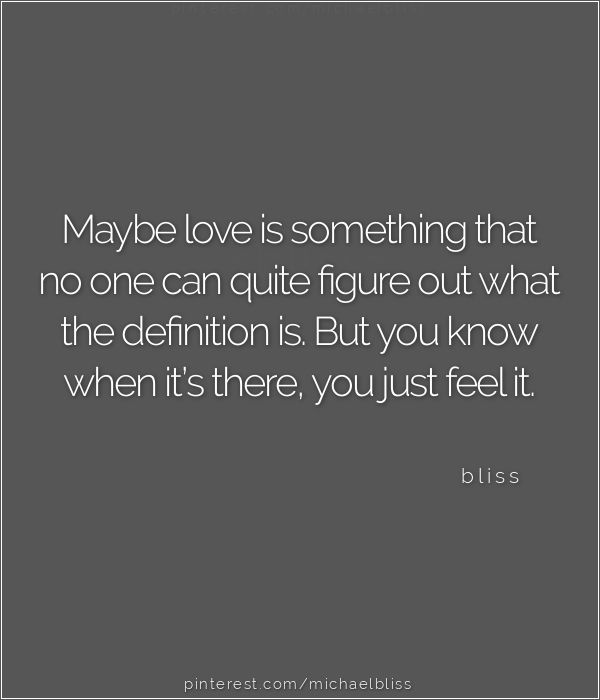 Maybe love is something that no one can quite figure out what the definition is. But you know when it's there, you just feel it. ~ bliss