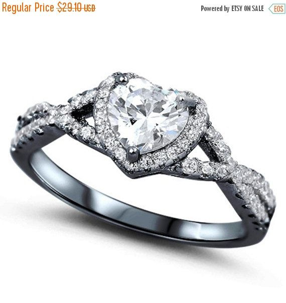 Heart Promise Halo Ring Heart Shape White CZ by BlueAppleJewelry
