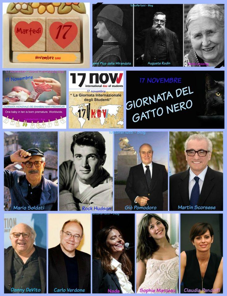 17 NOVEMBRE 2015 - Martedì - GIORNATA INTERNAZIONALE DEGLI STUDENTI - GIORNATA MONDIALE DEI BAMBINI NATI PREMATURI - GIORNATA DEL GATTO NERO Buon martedì!! Buon pomeriggio!  Compleanni, addii, storia e le notizie curiose: Almanacco completo in 1 clik sul blog ----> http://tucc-per-tucc.blogspot.it/2015/11/17-novembre-2015-martedi-giornata.html