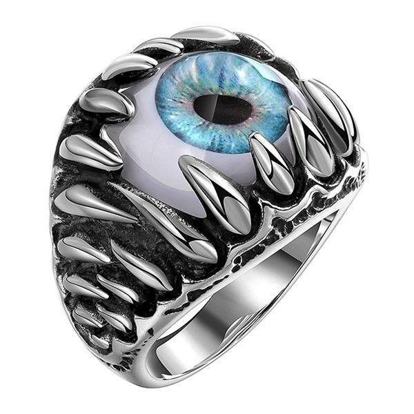 Retro Stainless Steel Punk Blue Evil Eye Band Ring (32 BRL) ❤ liked on Polyvore featuring jewelry, rings, evil eye ring, retro style jewelry, stainless steel rings, retro jewelry and punk rings
