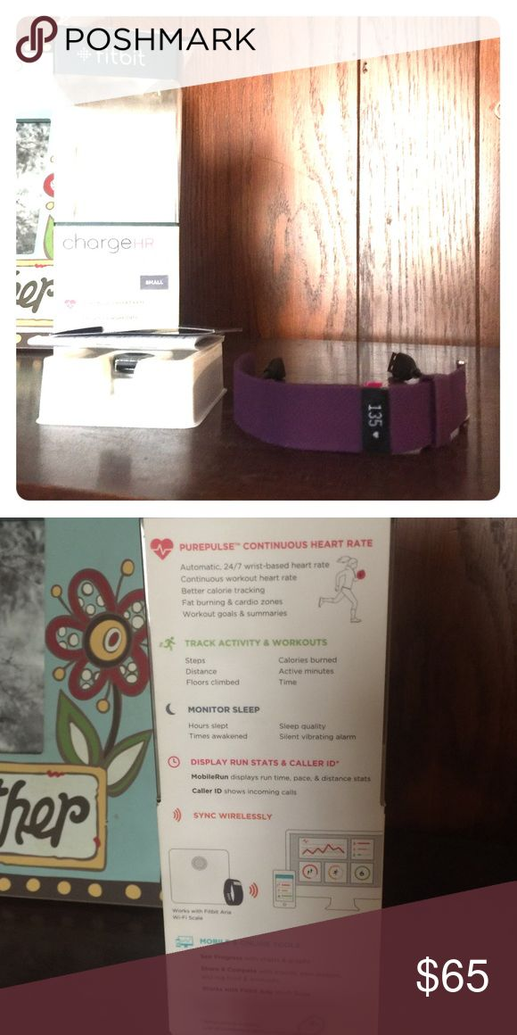 Brand new FitBit HR This was purchased last year for my mom as a gift and she never took it back out of the box once we charged it up! Still has screen protector/film on it. Box included but was ripped open. Has only be on once and never even linked to a phone! Accessories Watches