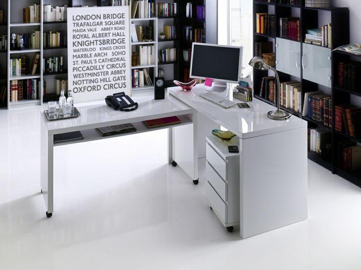 MIKE-L Hochglanz Schreibtisch weiß