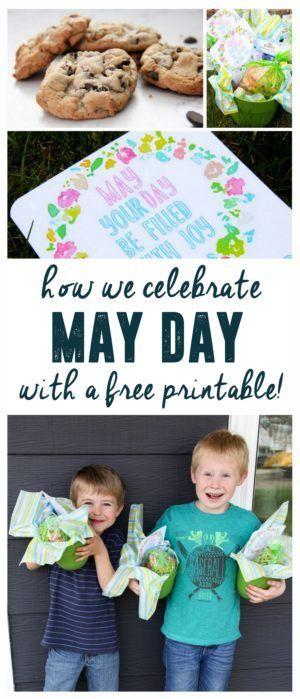 May Day Printable, May Day Basket Idea www.BrightGreenDoor.com