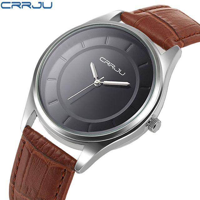 New CRRJU Luxury Brand Quartz Watch Casual Fashion Leather Watches Reloj Masculino Men Watch Waterproof Wristwatch Sports Watch