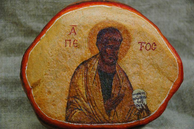 tomasz biłka op, św. Piotr, akryl na kamieniu, ok. 10x15 cm, 2008, dla Piotra Lichacza.
