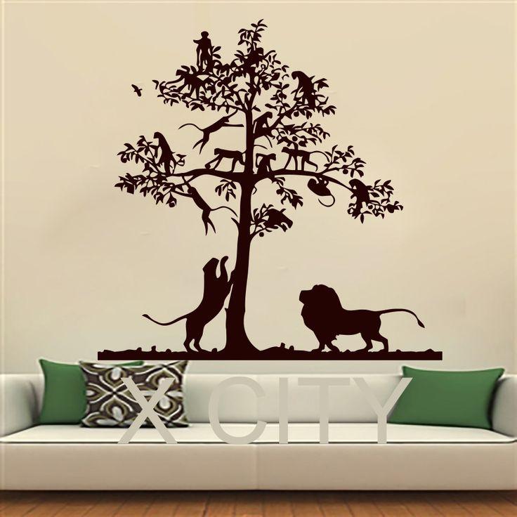 Наклейки на стены лев дерево обезьяна сафари пейзаж дети виниловые наклейки мальчик девочка детские спальни дома , искусство фрески трафареты