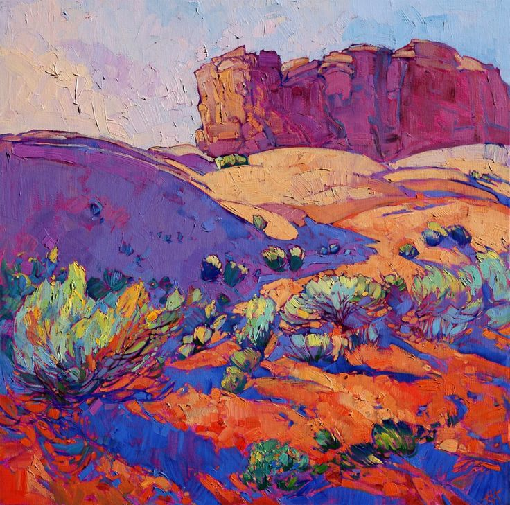 Southwestern Interior Design | Modern Impressionist Artwork | Monument Valley original oil painting by Erin Hanson artist