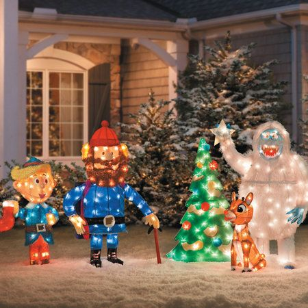 """Recreate a classic TV scene from """"Rudolph the Red-Nosed Reindeer"""" with our 3D Rudolph and Bumble Outdoor Christmas Decoration."""