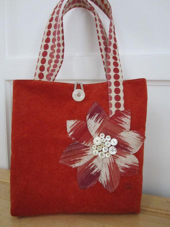 orange tote bag polka dot strap handle by BerkshireCollections, $43.00