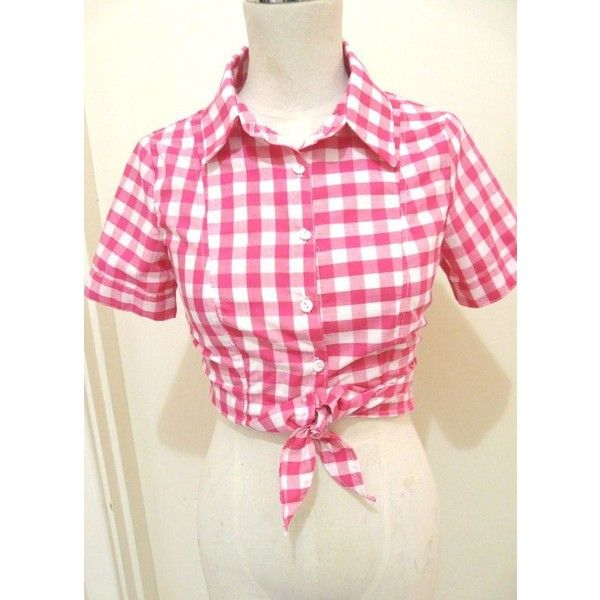 Women's Rockabilly Top Western Blouse Tie Shirt Pink Gingham Pin Up... ❤ liked on Polyvore featuring tops, blouses, rockabilly shirts, plus size blouses, plus size cowgirl shirts, plus size tops and plus size western shirts