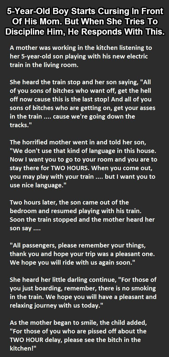 The shocking response of this little boy towards his mother. (Click to Enlarge).