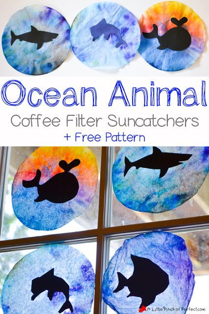 Ocean Animal Coffee Filter Suncatcher Craft for Kids + free template: We used coffee filters and cut out animal silhouettes like a dolphin, shark, whale, and fish to make colorful suncatchers perfect for summer or ocean activities with the kids.
