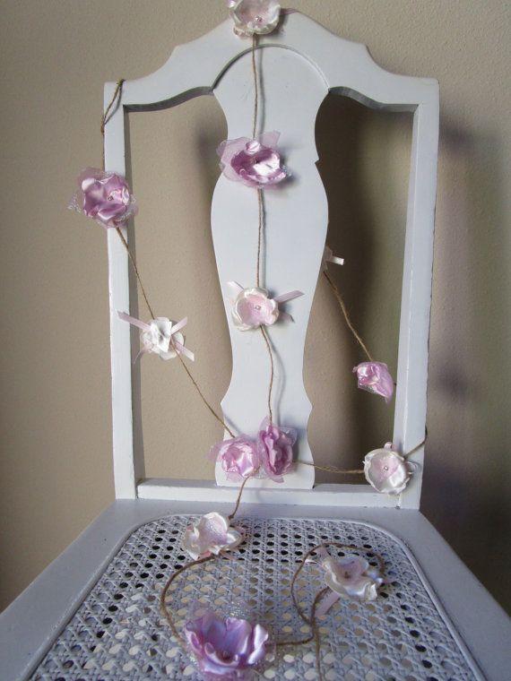 Fabric flower garland Rustic Wedding decoration by Flowears