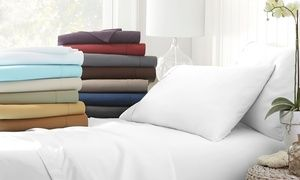 Groupon - Microfiber Merit Linens Bed Sheets Sets (4-Piece). Groupon deal price: $14.99