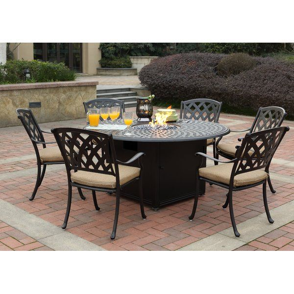 Campton 7 Piece Dining Set With Firepit And Cushion Patio Dining Set Outdoor Dining Set Conversation Set Patio