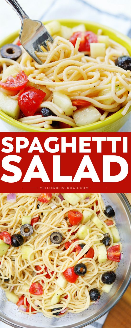 Summer Spaghetti Salad with vegetables and Italian Dressing is a simple twist on the classic pasta salad. Delicious summer side dish!