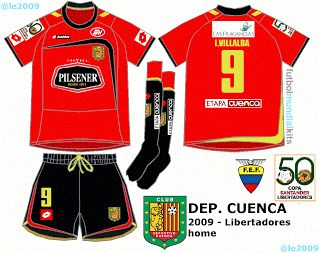 Deportivo Cuenca of Ecuador home kit for 2009.