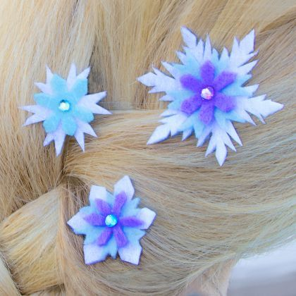 Add some cool to your hair style with these Elsa-inspired snowflake hair barrettes.