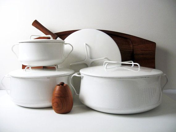 Rare DANSK Kobenstyle White Enamelware Collection - 4 pieces / enamel pots & pan with lids