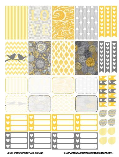 Free Yellow and Gray Planner Stickers | Everybody Wants To Plan