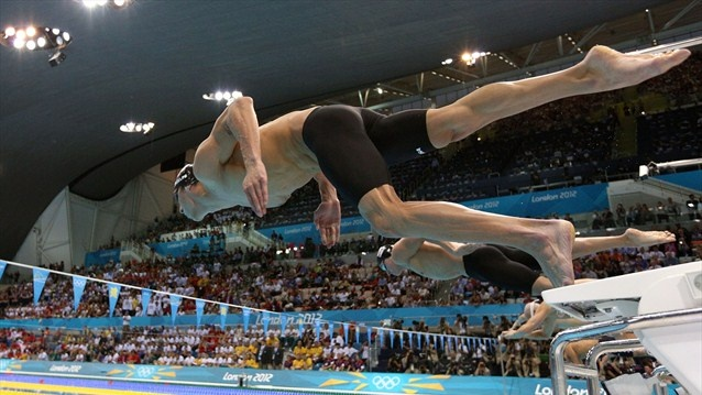 Michael Phelps dives off the blocks. #Olympics Olympics.